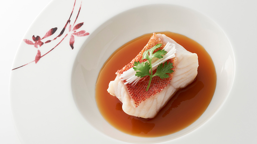 Mandarin Oriental Tokyo's Steamed Okinawa Star Grouper Fillet with Soy Based Fish Broth from SENSE, also offered for room service.