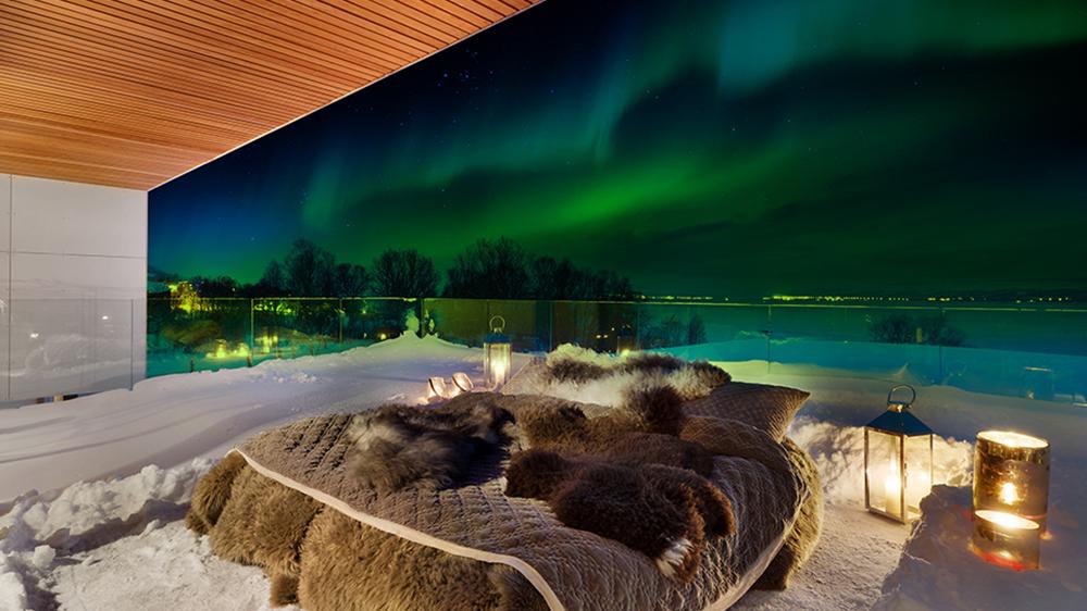 Aurora Borealis Northern Lights Norway bed view