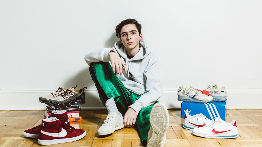 Axel Petochi, 14, in his family's Upper East Side apartment