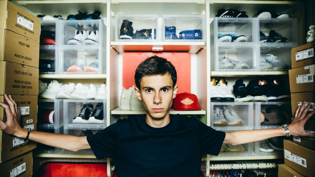 Mitchell Sozio, 15, in his Fifth Avenue shoe closet