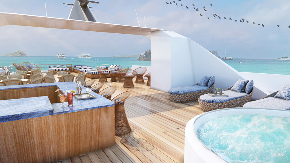 Galapagos megayacht eco-friendly deck