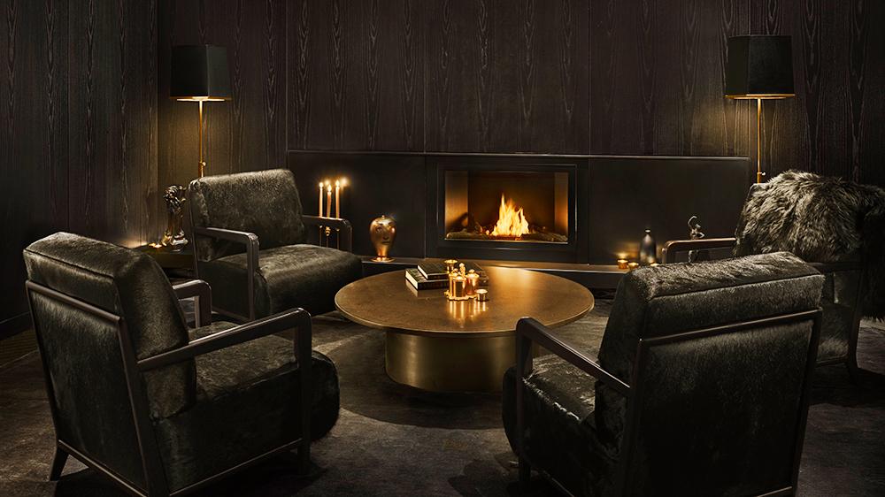 black room fireplace luxury hotel New York city