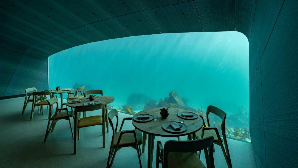A glimpse inside Under, a subaquatic restaurant.