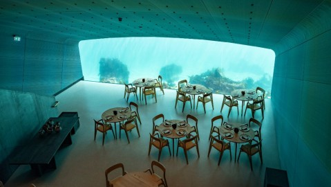 A glimpse inside Under, a subaquatic restaurant.