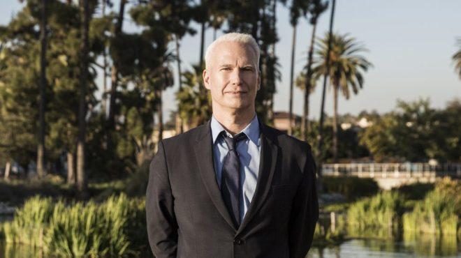 Klaus Biesenbach at Echo Park Lake in LA.
