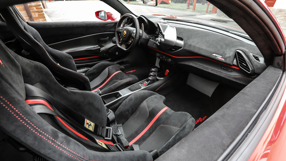 A peek inside the Ferrari 488 Pista's race-inspired interior.
