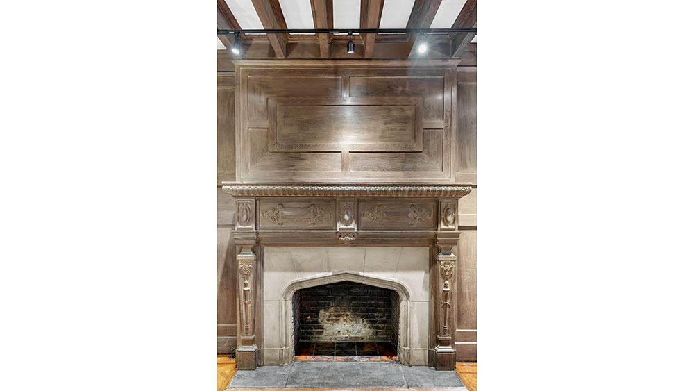 The property features 12 wood-burning fireplaces.