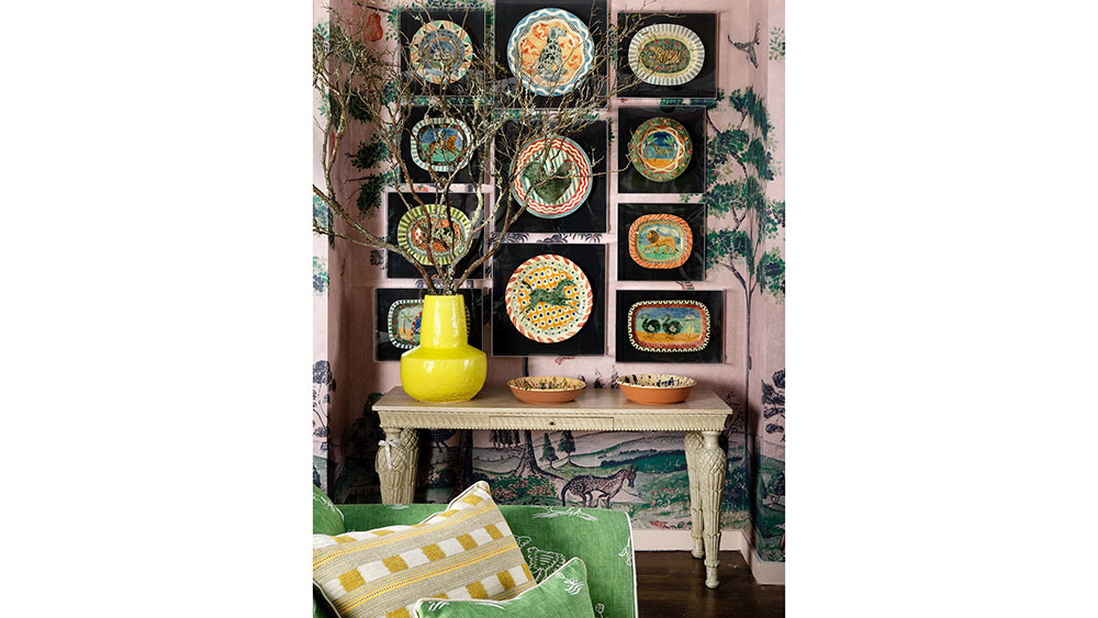 """One of the many """"nooks"""" in Kemp's pop-up. This one features plates on display by xxx."""