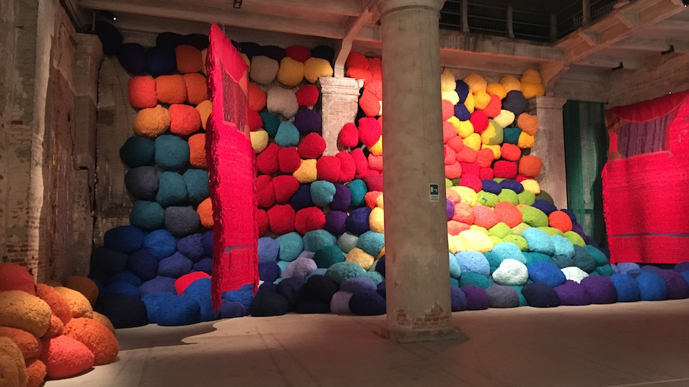 Work by Sheila Hicks in the Arsenale section at the 2017 Venice Biennale.