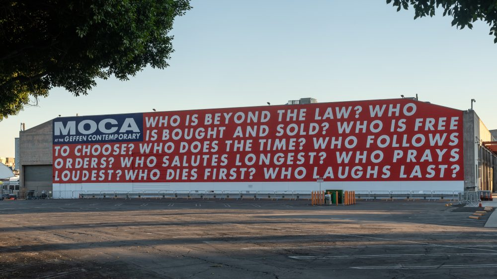 "MOCA's main building; Barbara Kruger's ""Untitled (Questions)""."