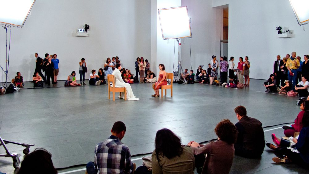 MOMA exhibit called The Artist Is Present, performance artist Marina Abramovic.