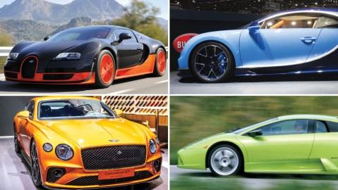 Bugatti's Veyron Super Sport, 2016 Bugatti Chiron, Bentley Continental GT, Lamborghini's Murcielago.