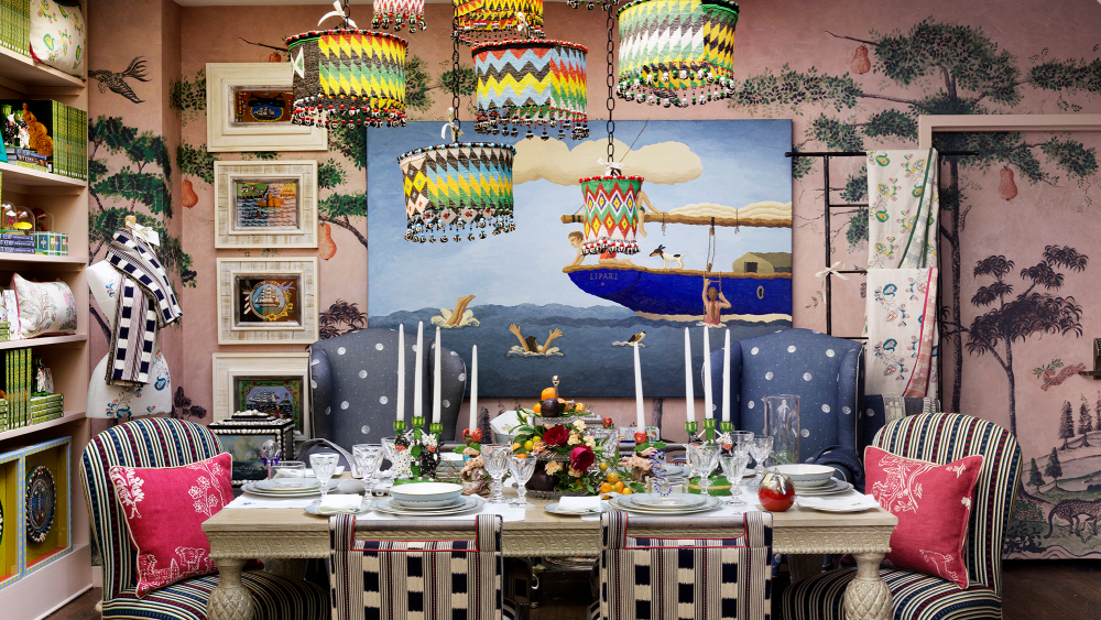 """The dining room. The tableware is a collaboration between Kemp and Wedgwood. Called """"Sailor's Farewell,"""" each piece depicts a sailor's loved one waving goodbye."""