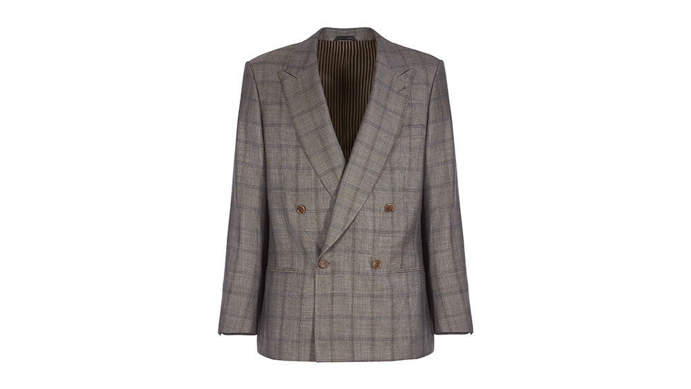 Giorgio Armani's double-breasted blazer in checkered serge.