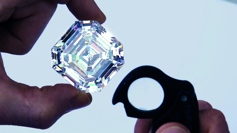 Graff's Lesedi La Rona diamond weighs in at over 300 carats—the largest emerald cut square diamond in the world.