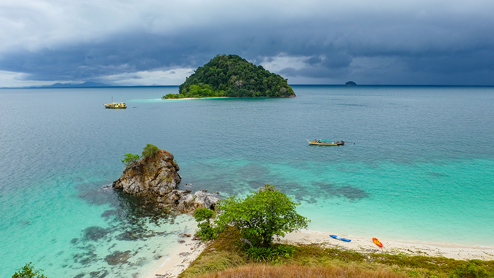 Panoramic view of islands and boats in the Myeik Archipelago, Myanmar