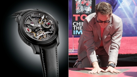 Robert Downey Jr. wore a Greubel Forsey Double Tourbillon technique, valued at $560,000, to his imprint ceremony at TCL Chinese Theater in Los Angeles.