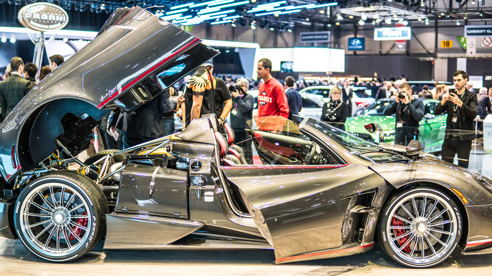 Pagani's Huayra Roadster at the 2018 Geneva International Motor Show.