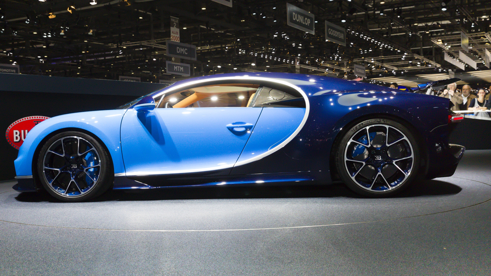 A 2016 Bugatti Chiron at the 86th Geneva Motor Show.