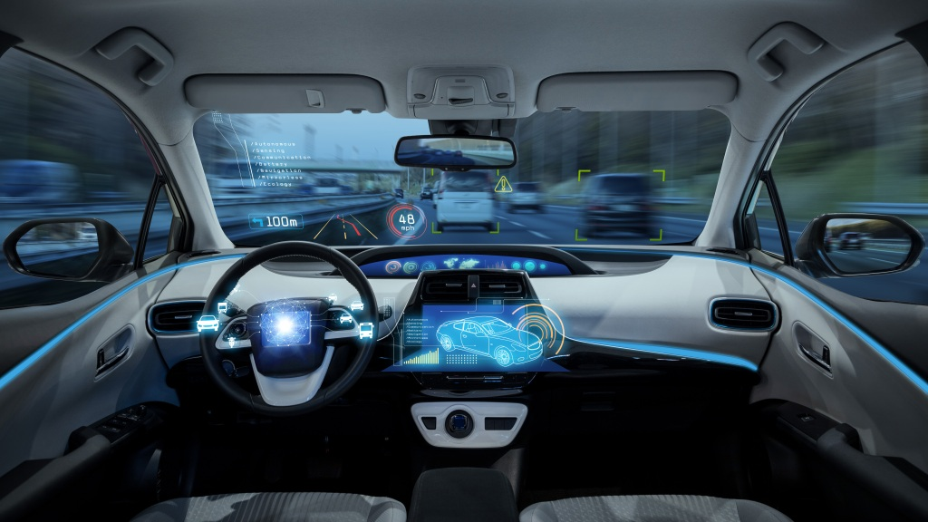 the interior of a self-driving car
