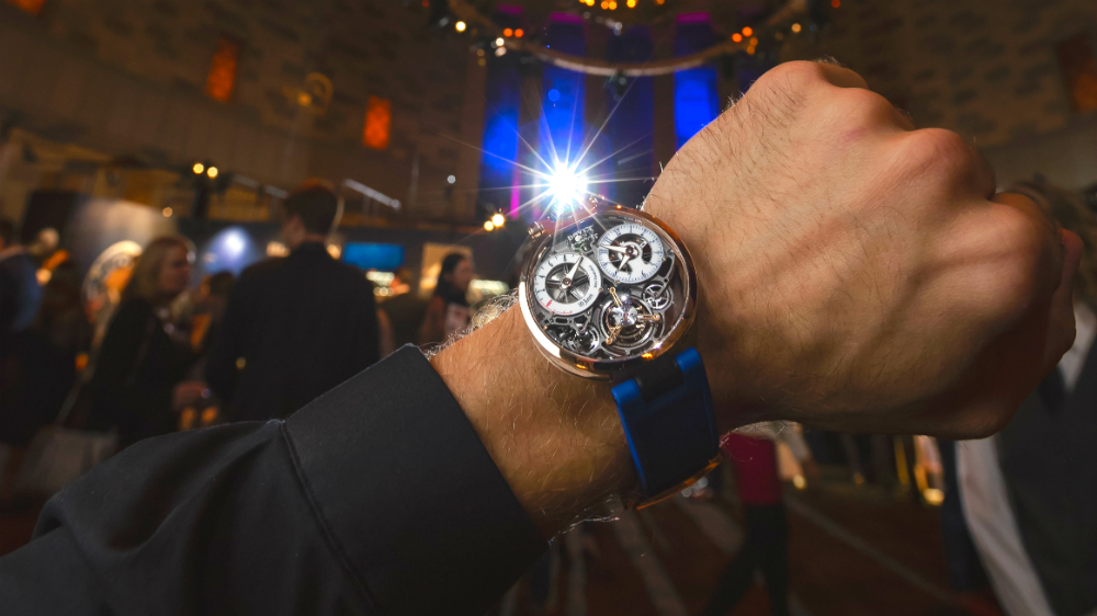 WatchTime LA will bring 27 major high-end watchmakers to Los Angeles. Pictured: A Bovet watch at WatchTime New York 2018.