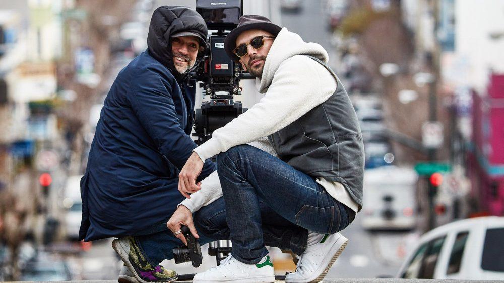 Street Artist JR and Cinematographer Roberto de Angelis at work in San Francisco