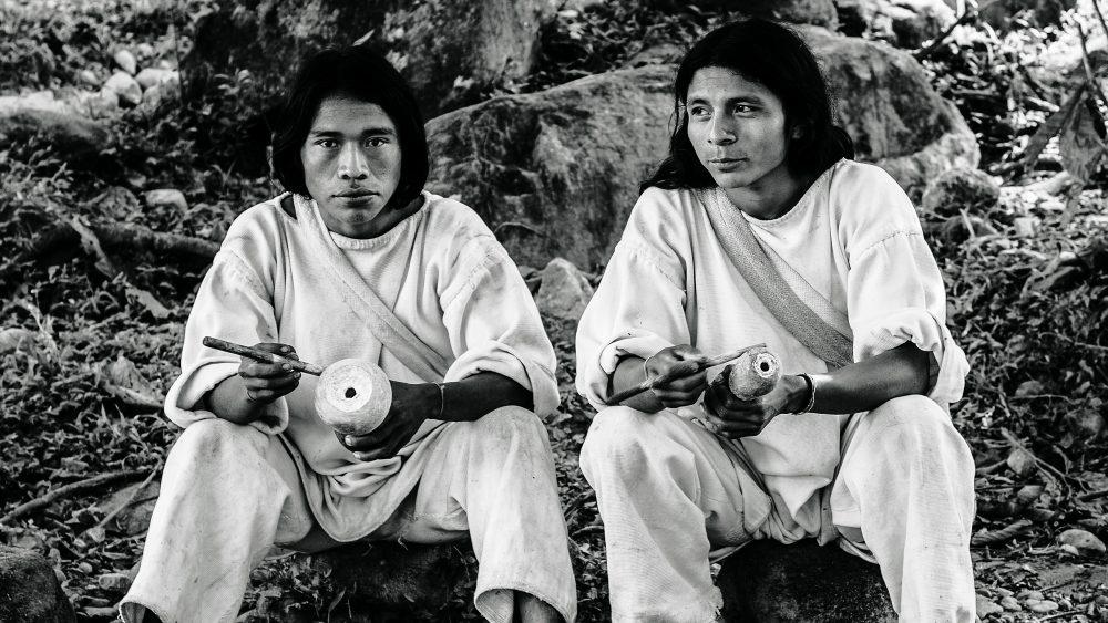 Kogi tribesmen in a village in the Sierra Nevada de Santa Marta
