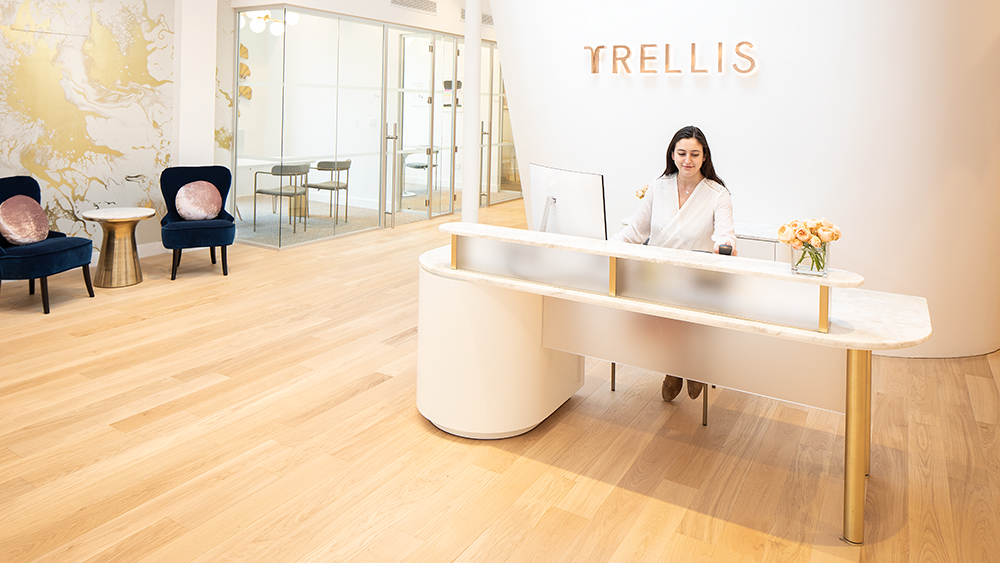 Trellis Reception, with offices to the left.