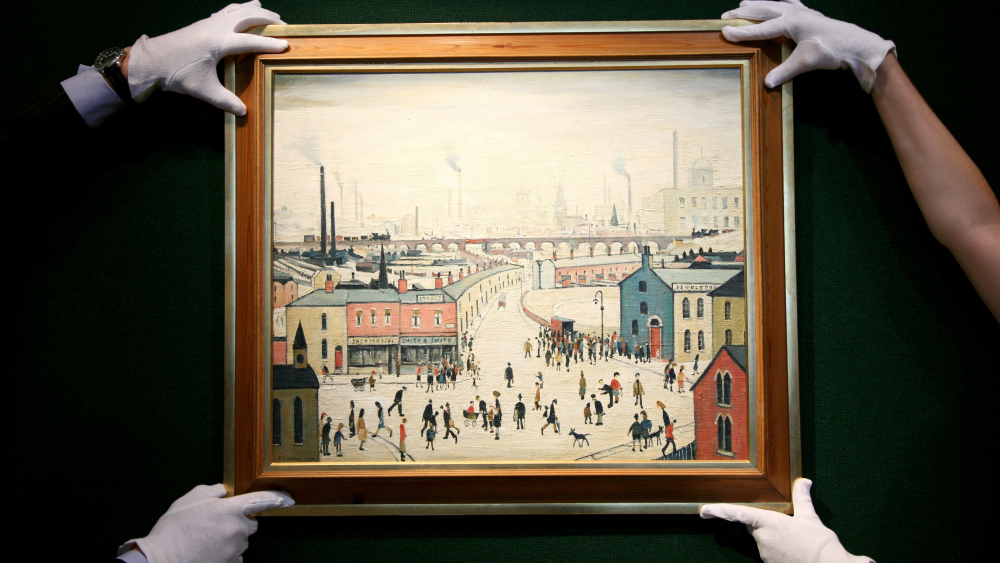 An unseen L.S. Lowry titled Industrial Escape, auctioned at Bonham's in 2007.
