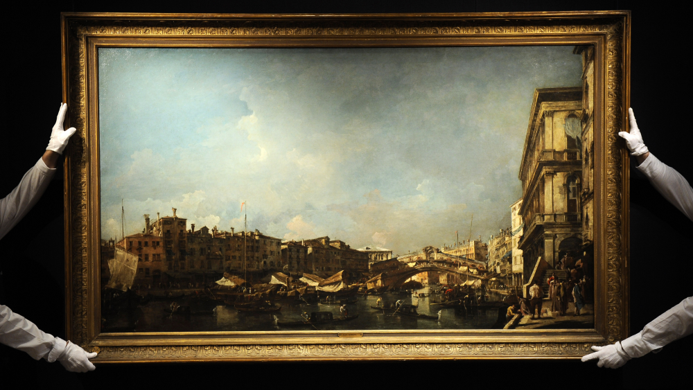 Venice a View of the Rialto Bridge, Looking North from the Fondamenta del Carbon by Francesco Guardi, auctioned at Sotheby's in 2011.
