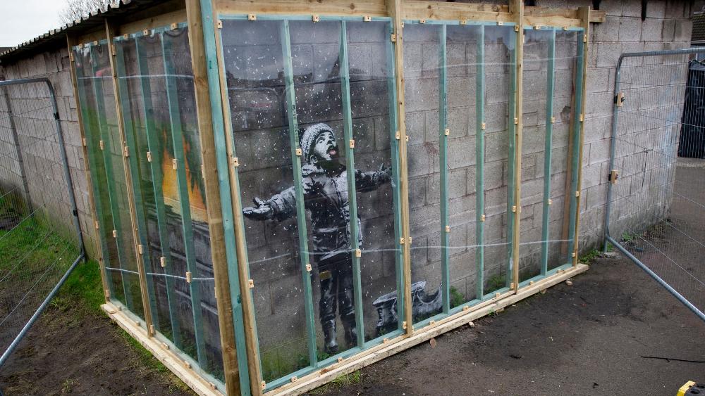 Banksy's mural Season's Greetings