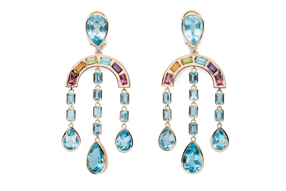 Brent Neale Rainbow and Raindrop Earrings