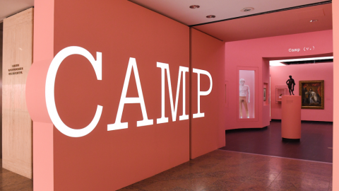 """Installation view of """"Camp: Notes on Fashion."""""""