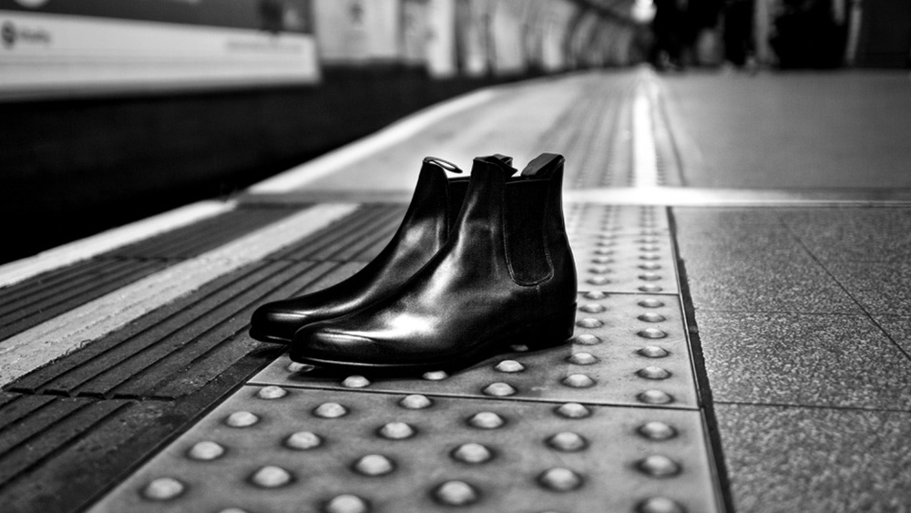 A pair of George Cleverly boots made in homage of the '50s style worn by Elton John.
