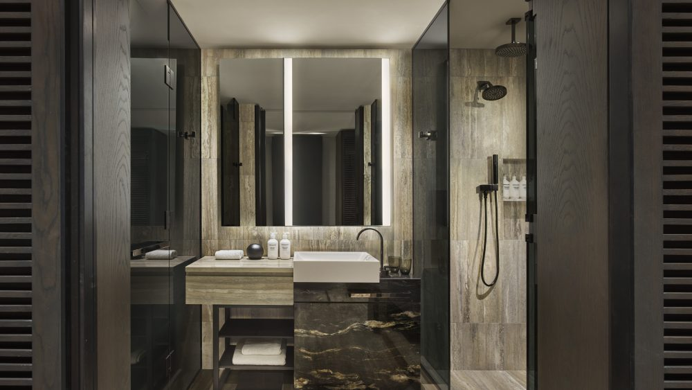 The interior of a bathroom at Equinox Hotel in Hudson Yards New York
