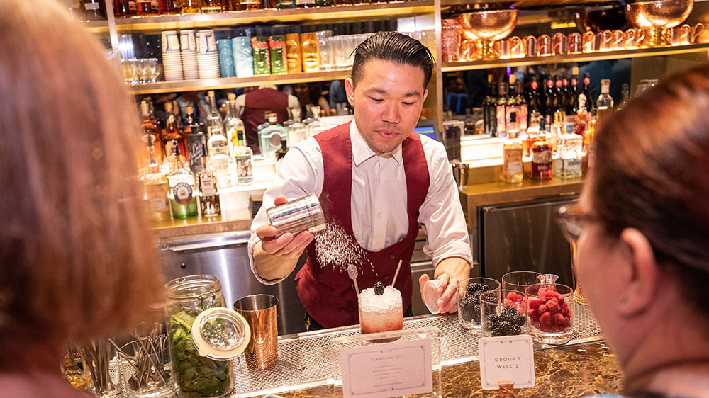 Evan Hosaka of Rosina educates guests on the craft of cocktailing at Vegas Uncork'd