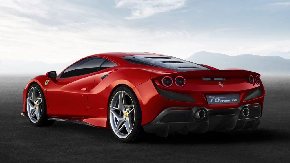 The rear of the Ferrari F8 Tributo.