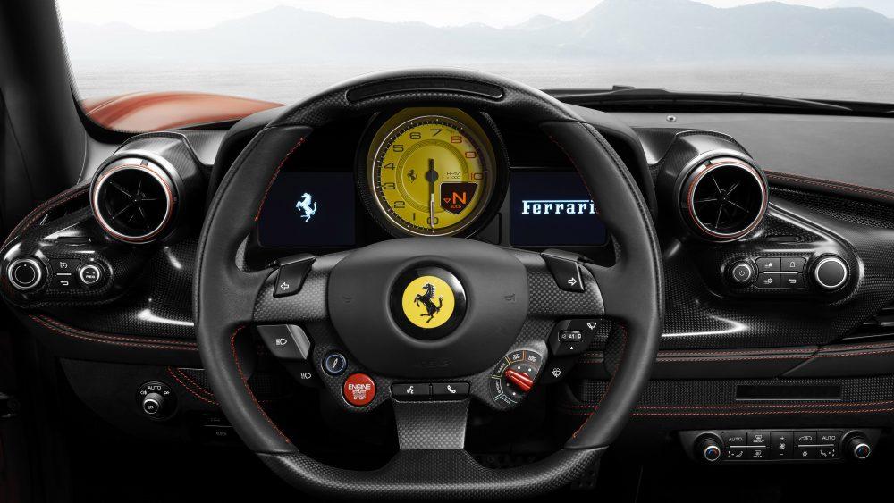 The interior of Ferrari's F8 Tributo