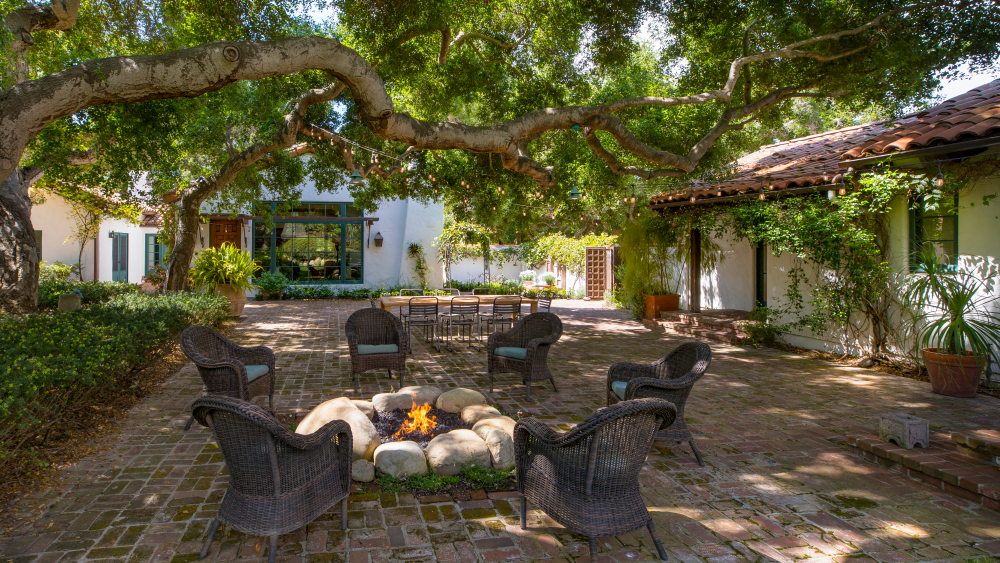 The fire pit and courtyard area.