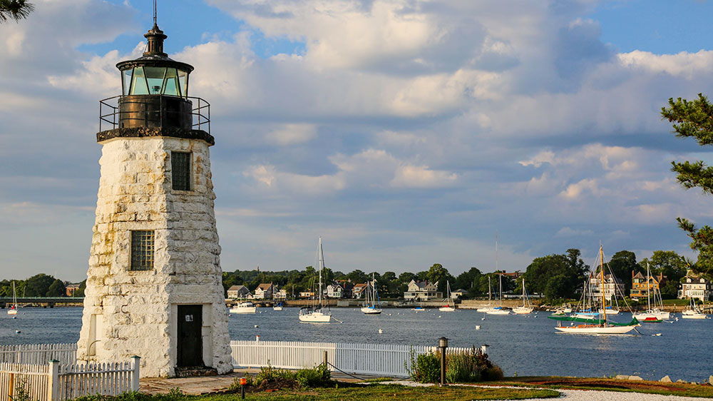 Goat Island Lighthouse in Newport, Rhode Island
