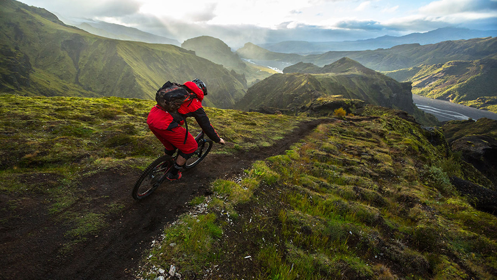 Cycling on the mountains in Iceland