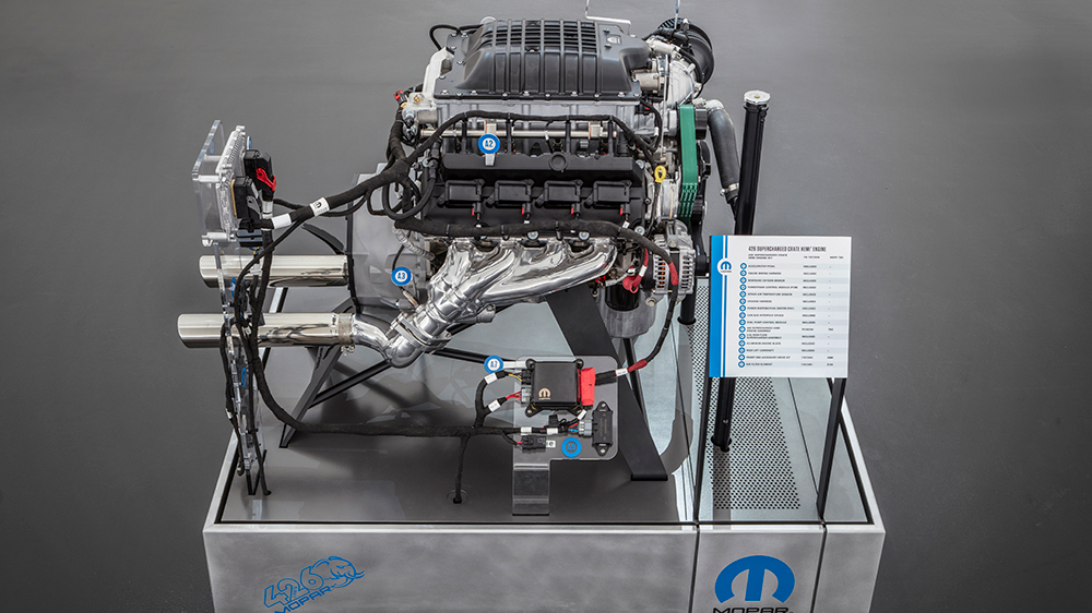 The Hellephant 426 Supercharged Mopar Crate HEMI® Engine is a Mopar-first for a 1,000-horsepower crate engine kit offered by an Original Equipment Manufacturer (OEM).