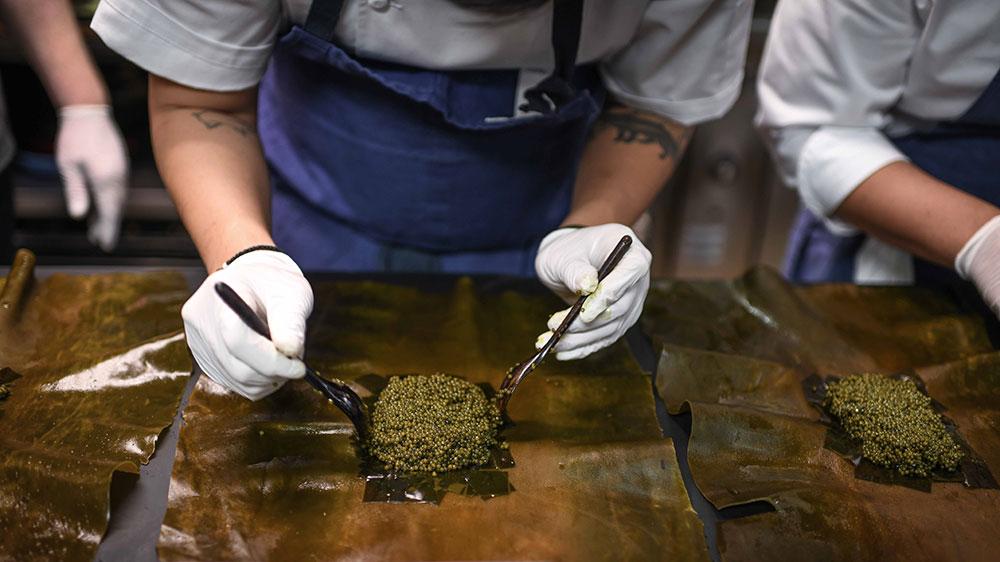 Joshua Skenes's caviar wrapped in kelp at Gourmetfest