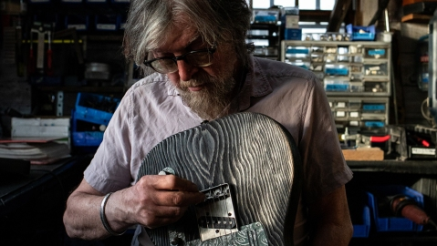 James Trussart setting up a Sage Green Antique Silver Paisley SteelGuardCaster in his workshop in Echo Park, Los Angeles.