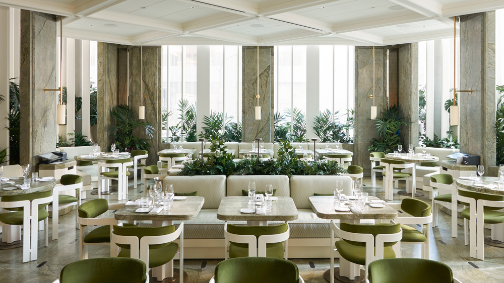 The airy green dining room