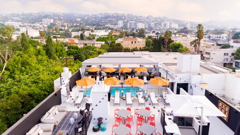 aerial photo of pool at the Skydeck at Le Parc Suite Hotel in West Hollywood