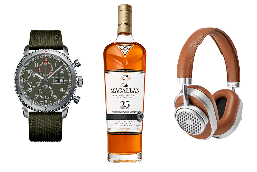 Magellan Jets's Father's Day gift box includes a watch from Breitling, a bottle of Macallan 25, and a pair of Master & Dynamic's new noise-cancelling headphones.
