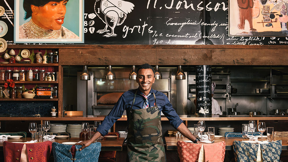 Marcus Samuelsson at Red Rooster in Harlem, New York