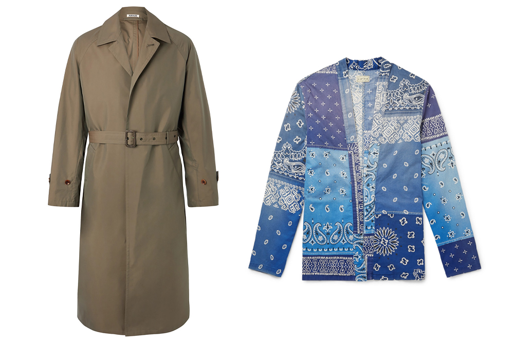Mr Porter's Japan Edit includes a trench coat from Auralee and bandana print shirts from Kapital.