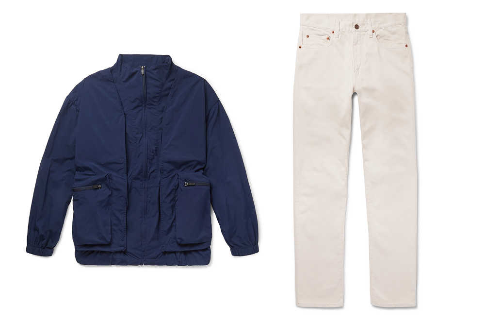 A multipocket jacket from Remi Relief and a pair of white jeans from Beams Plus are also in the assortment.